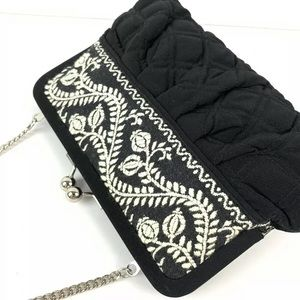Very Bradley Embroidered Kiss Lock Bag Clutch